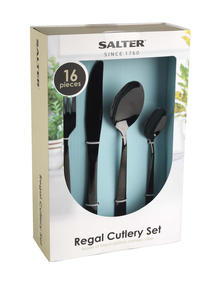 Salter Regal 16 Piece Cutlery Set, Black, 1 Year Guarantee Thumbnail 5