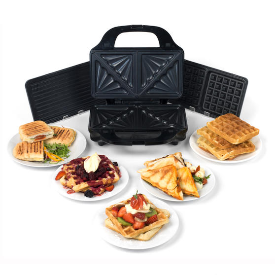 Salter Deep Fill 3-in-1 Snack Maker with Waffle, Panini and Toasted Sandwich Plates, 900 W