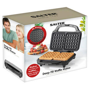 Salter Deep Fill Waffle Maker with XL Non-Stick Cooking Plates, 900 W, Silver	 Thumbnail 10