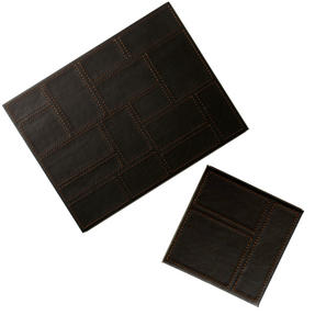 Inspire Luxury Patchwork Placemat and Coaster, Faux Leather, Brown, Set of 4
