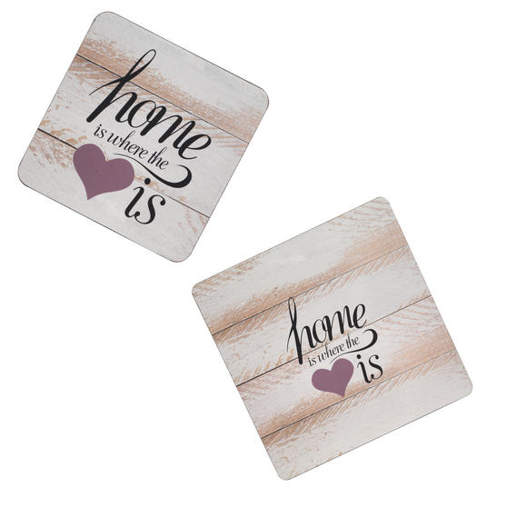 Inspire Set of 4 Where The Heart Is Hardboard Felt Backed Placemats and Coasters