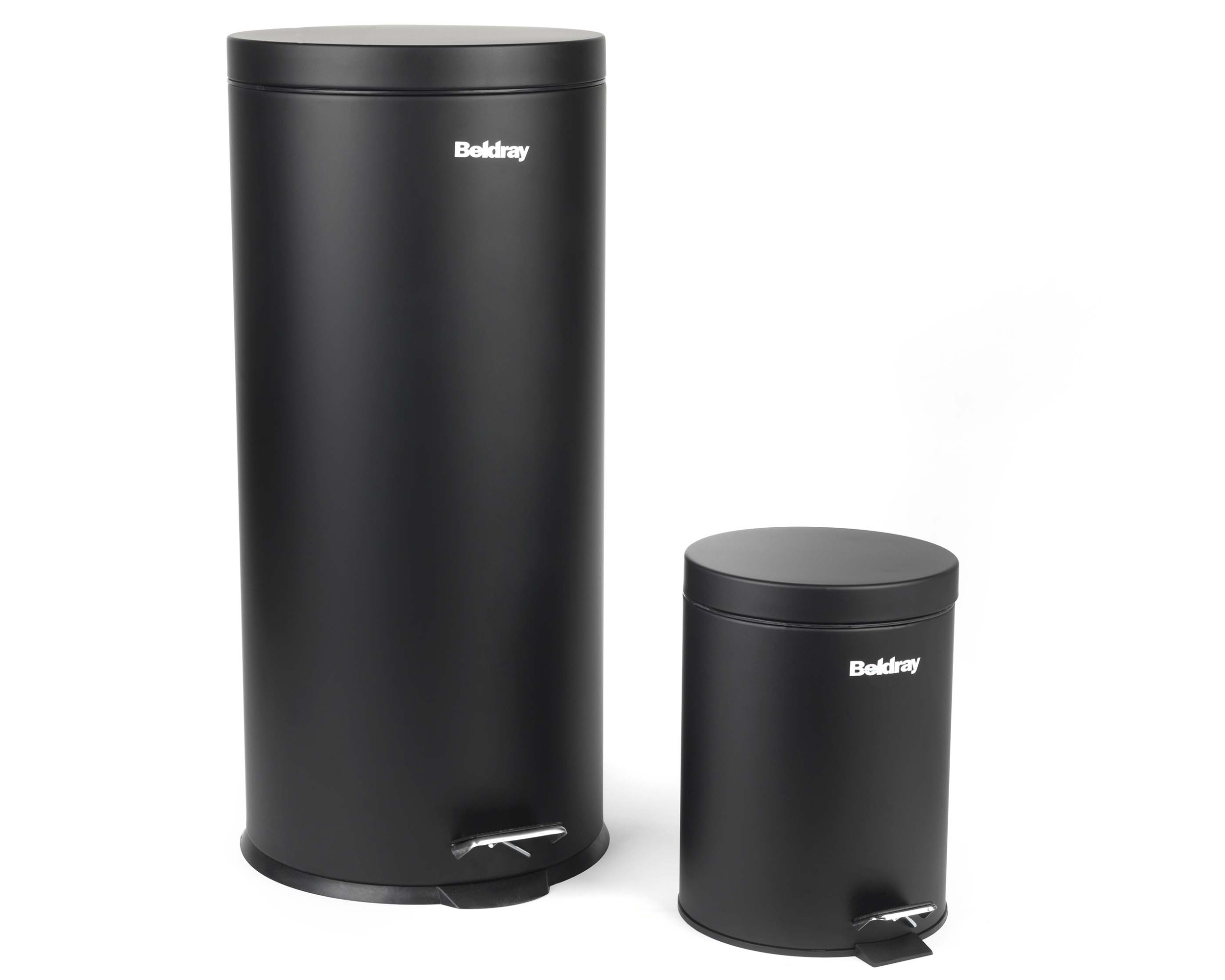 Beldray La038050blk 30 Litre And 5 Round Black Pedal Bin Set