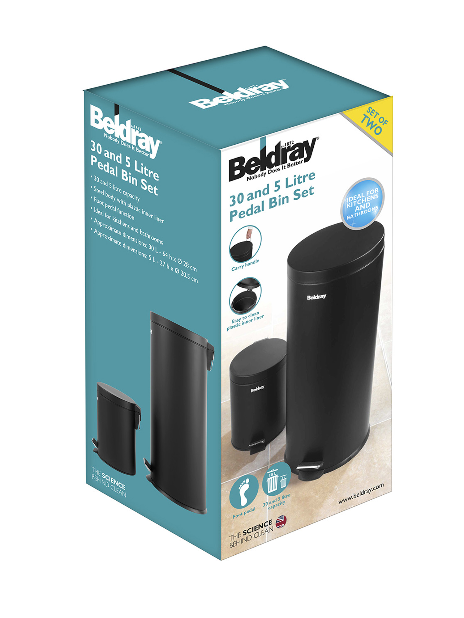 Beldray LA038050BLK 30 Litre and 5 Litre Round Black Pedal Bin Set ...