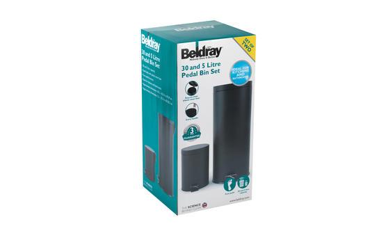 Beldray LA038050BLK 30 Litre and 5 Litre Round Black Pedal Bin Set Thumbnail 6
