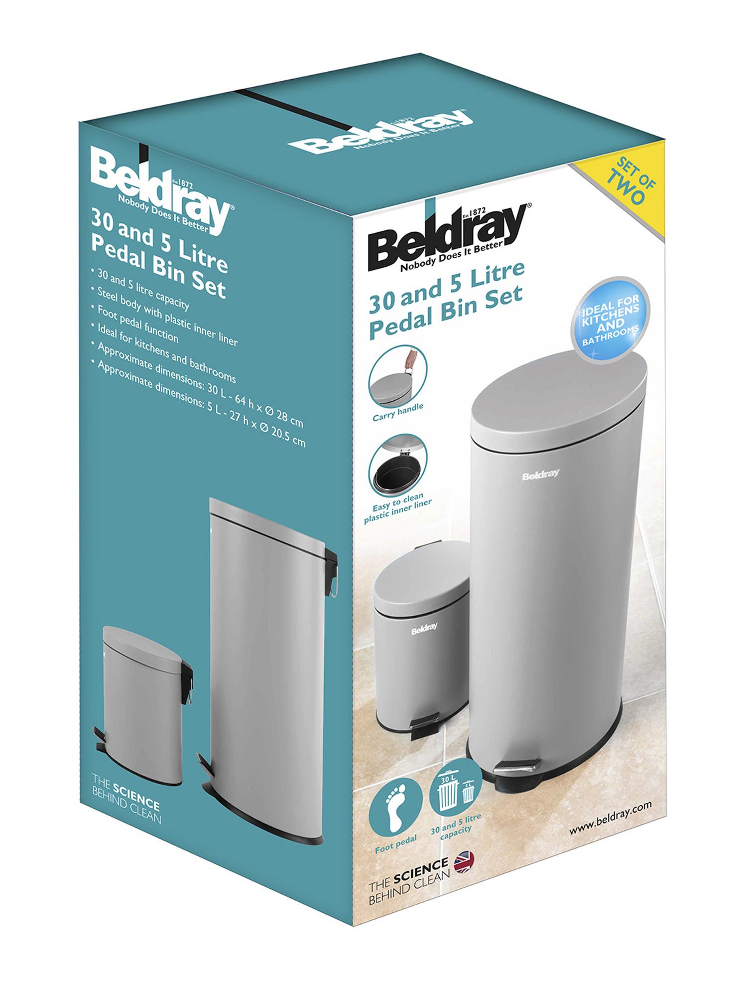 Beldray LA038050GRY 30 Litre and 5 Litre Round Grey Pedal Bin Set ...