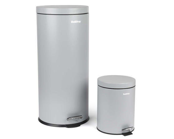 Beldray LA038050GRY 30 Litre and 5 Litre Round Grey Pedal Bin Set Thumbnail 1
