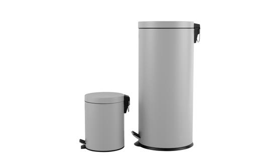 Beldray LA038050GRY 30 Litre and 5 Litre Round Grey Pedal Bin Set Thumbnail 3