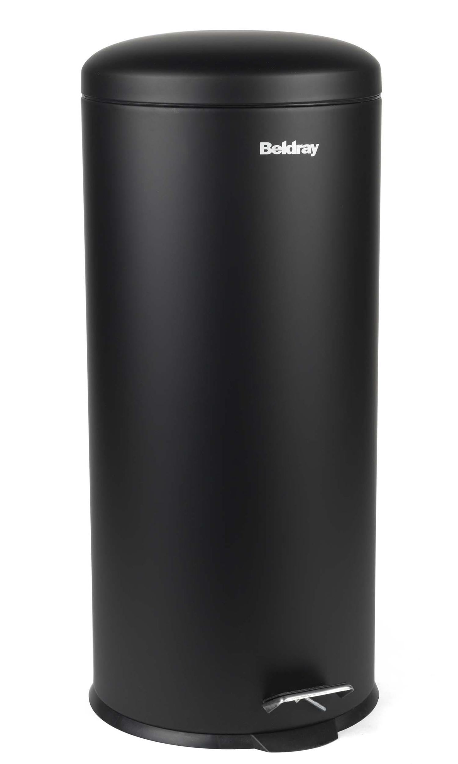 Elegant Beldray LA038074BLK 30 Litre Black Kitchen Bin With Soft Closing Lid