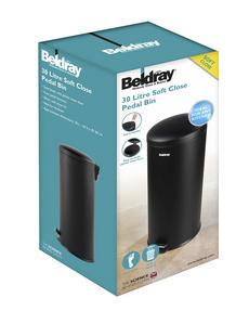 Beldray LA038074BLK 30 Litre Black Kitchen Bin with Soft Closing Lid Thumbnail 2