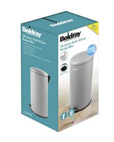 Beldray LA038074GRY 30 Litre Grey Kitchen Bin with Soft Closing Lid Thumbnail 2