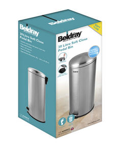 Beldray LA038074SS 30 Litre Stainless Steel Kitchen Bin with Soft Closing Lid Thumbnail 2