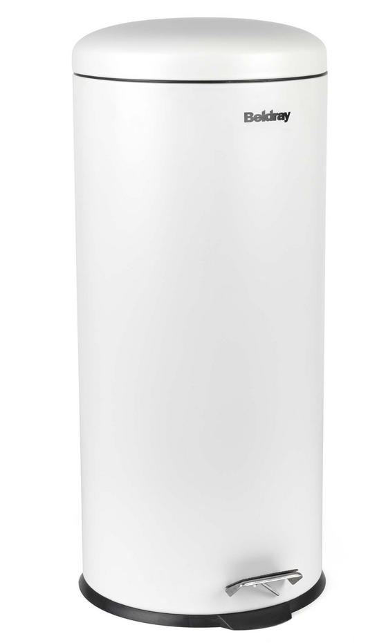 Beldray LA038074WHT 30 Litre White Kitchen Bin with Soft Closing Lid