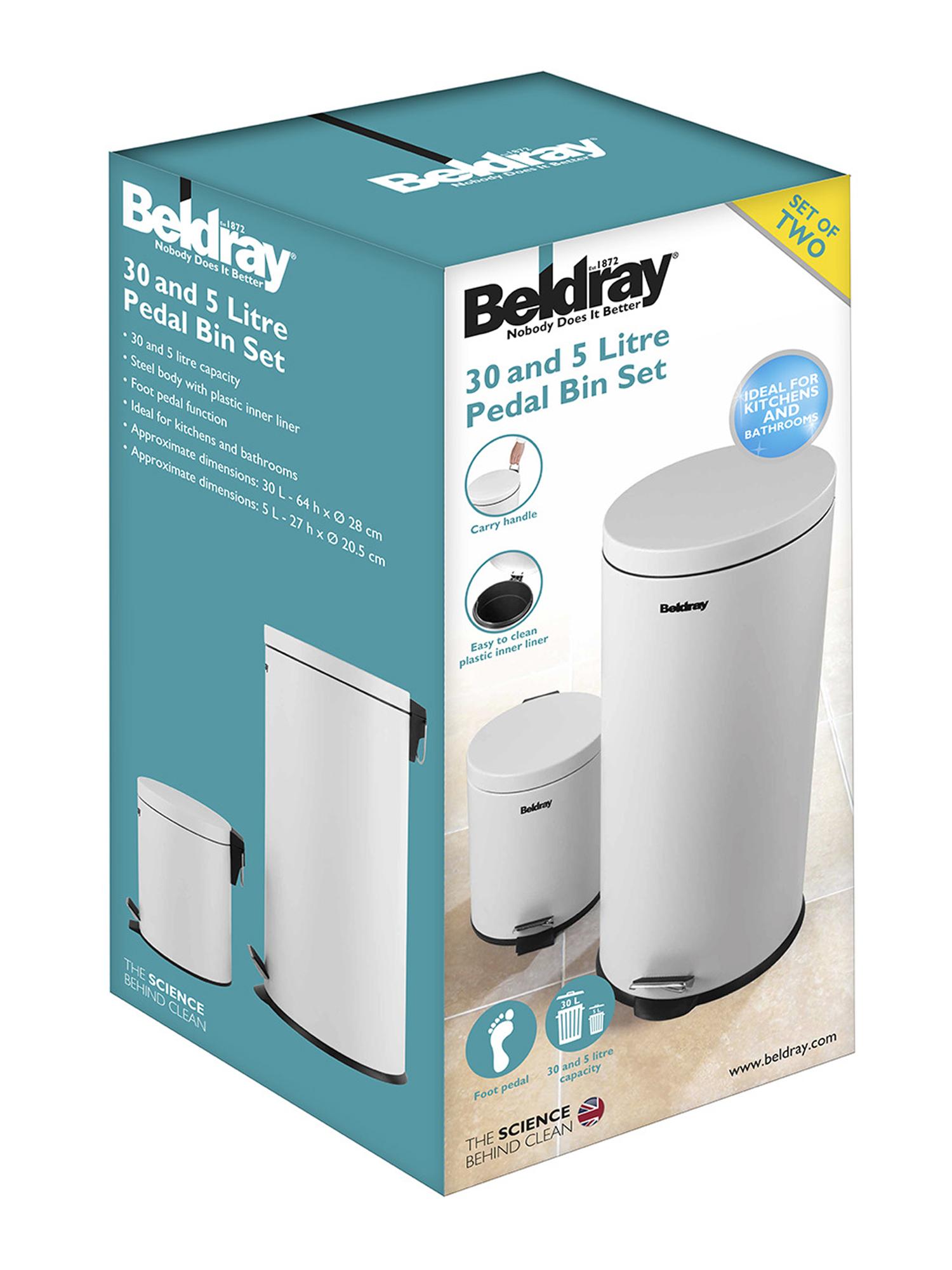 Beldray LA038050WHT 30 Litre and 5 Litre Round White Pedal Bin Set ...
