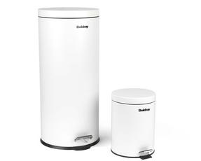 Beldray LA038050WHT 30 Litre and 5 Litre Round White Pedal Bin Set Thumbnail 1