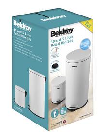 Beldray LA038050WHT 30 Litre and 5 Litre Round White Pedal Bin Set Thumbnail 2