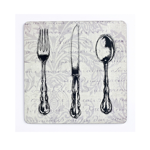Set of 4 vintage cutlery placemats placemats coasters for Cheap tattoo chairs uk