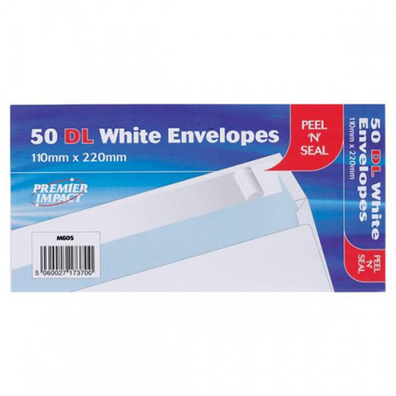 Just Stationary 4674 Pack of 50 White DL Peel & Seal Envelopes