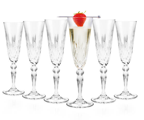 RCR 25600020006 Crystal Melodia Champagne Flutes Set of 6