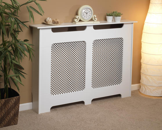 Beldray EH1841STK Wooden Radiator Cover, 100% FSC, Medium, White Satin Finish