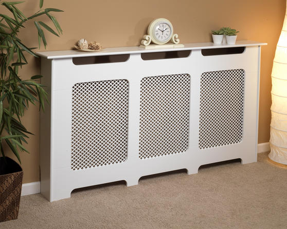 Beldray Wooden Radiator Cover, 100% FSC, Large, White Satin Finish Thumbnail 1