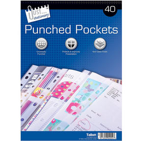 Just Stationery 4054 40 Clear Plastic Punched Pockets