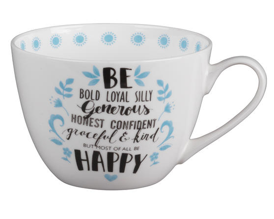 Portobello CM04643 Wilmslow Kind and Happy Bone China Mug