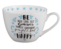 Portobello CM04643 Wilmslow Kind and Happy Bone China Mug Thumbnail 1
