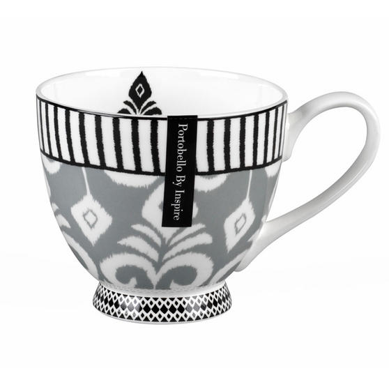 Portobello CM04569 Footed Ikat Grey Fine Bone China Mug