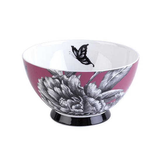 Portobello Footed Zen Garden Pink Fine Bone China Bowl