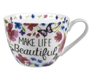 Portobello CM05048 Wilmslow Make Life Beautiful Bone China Mug Thumbnail 1