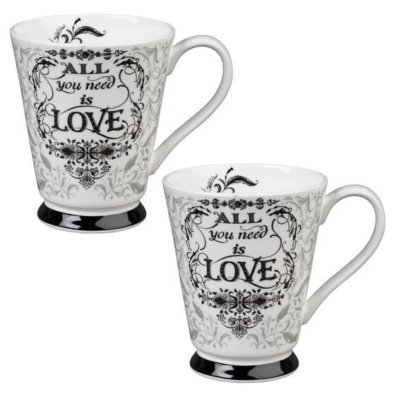 Portobello CM05008 Buckingham All You Need Is Love Bone China Mug Set of Two