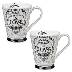 Portobello CM05008 Buckingham All You Need Is Love Bone China Mug Set of Two Thumbnail 1