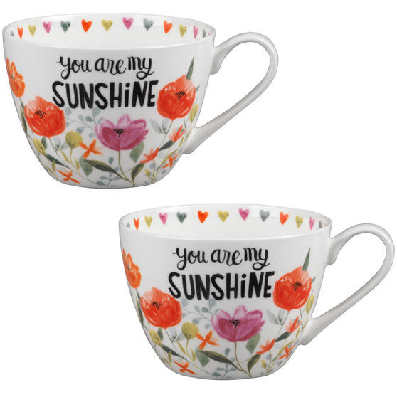 Portobello CM05064 Wilmslow You Are My Sunshine Bone China Mug Set of Two