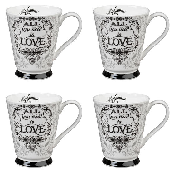 Portobello CM05008 Buckingham All You Need Is Love Bone China Mug Set of Four