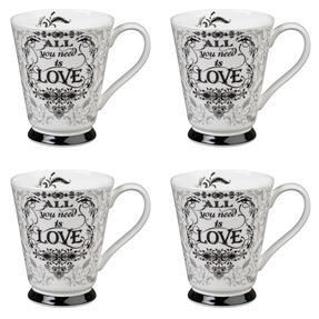 Portobello CM05008 Buckingham All You Need Is Love Bone China Mug Set of Four Thumbnail 1
