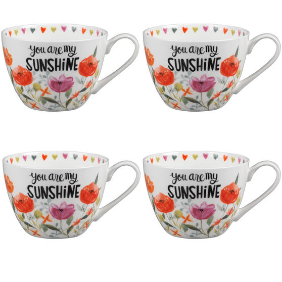 Portobello CM05064 Wilmslow You Are My Sunshine Bone China Mug Set of Four