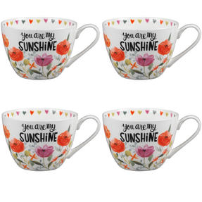 Portobello CM05064 Wilmslow You Are My Sunshine Bone China Mug Set of Four Thumbnail 1