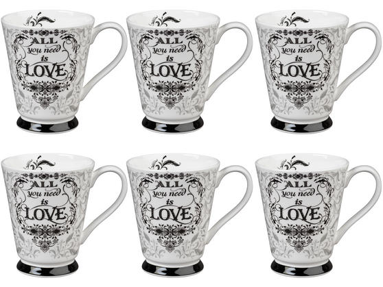 Portobello CM05008 Buckingham All You Need Is Love Bone China Mug Set of Six