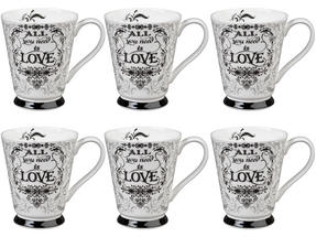 Portobello CM05008 Buckingham All You Need Is Love Bone China Mug Set of Six Thumbnail 1