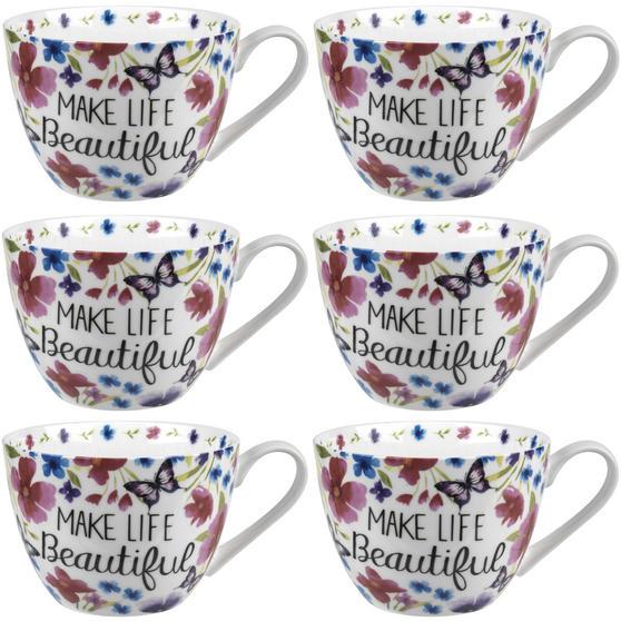 Portobello CM05048 Wilmslow Make Life Beautiful Bone China Mug Set of Six