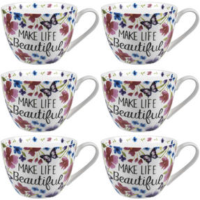 Portobello CM05048 Wilmslow Make Life Beautiful Bone China Mug Set of Six Thumbnail 1