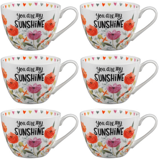 Portobello CM05064 Wilmslow You Are My Sunshine Bone China Mug Set of Six