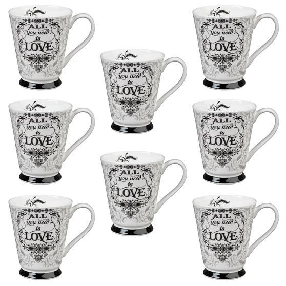 Portobello CM05008 Buckingham All You Need Is Love Bone China Mug Set of Eight
