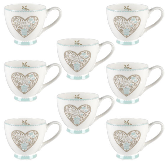 Portobello CM05083 Sandringham No Place Like Home Bone China Mug Set of Eight