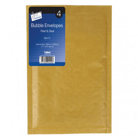 Supreme 4220 Size D Bubble Envelopes, Pack of 4