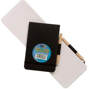 Just Stationary 6119 Police Style Mini Reporters Notebook With Pencil and Elastic Strap