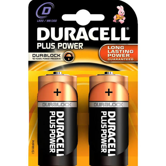 Duracell LR20 D Type Battery, Pack of 2