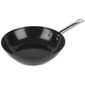Russell Hobbs BW05468BS Infinity Preseasoned Carbon Steel Wok, 28 cm, Black Thumbnail 1