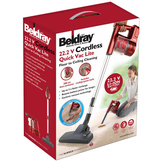 Beldray 22.2 V Cordless Quick Vac Lite, Red Thumbnail 8