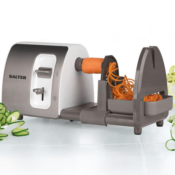Salter EK2299 3 in 1 Side Loading Electric Fruit and Vegetable Spiralizer, 15 W